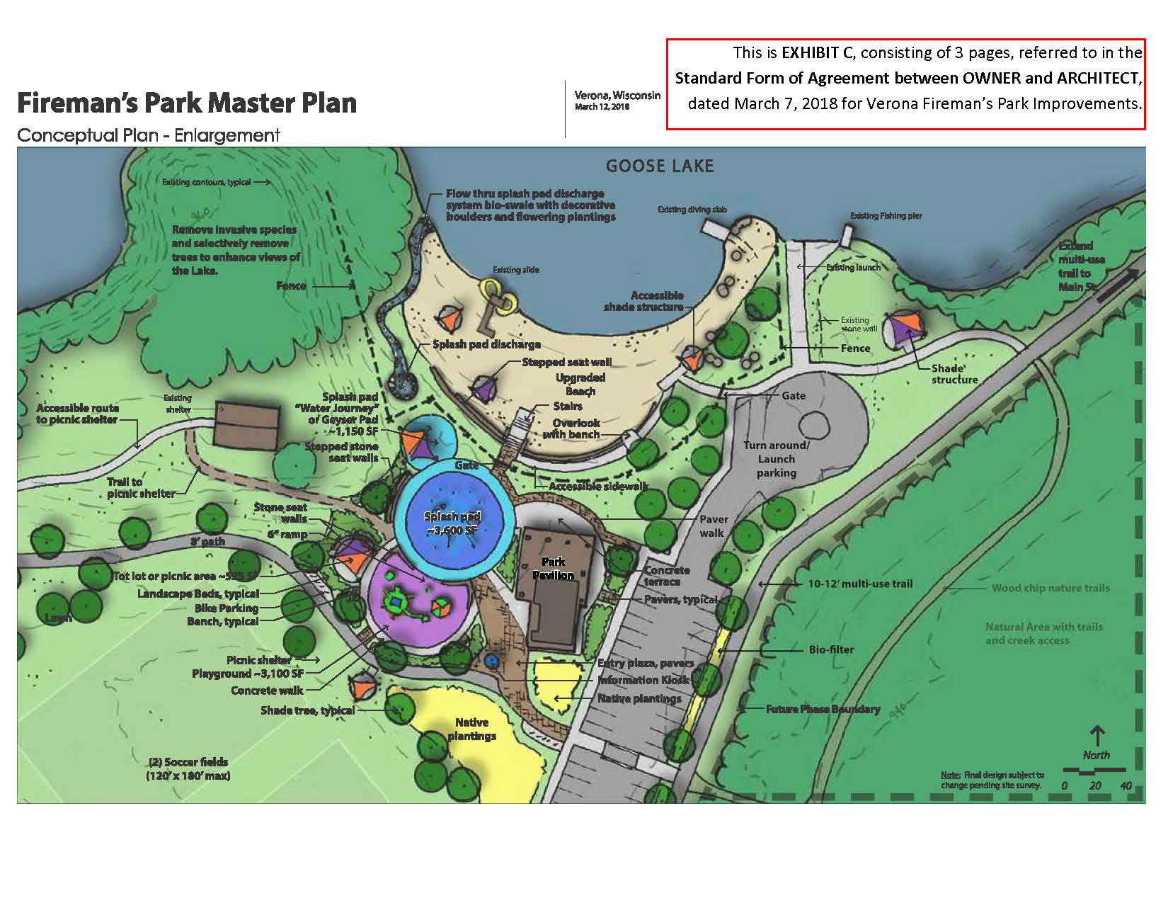 Fireman&#39s Park Improvements-Close up on splash pad and beach area