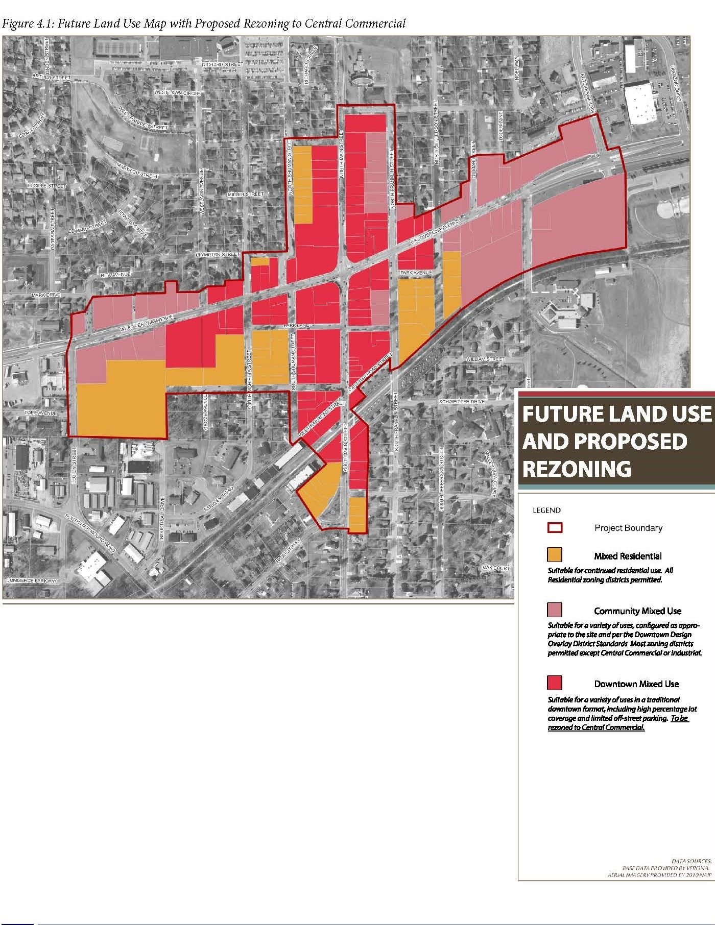 Future land use and proposed rezoning map